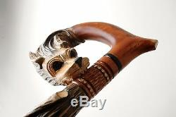 Vip Walking Stick Cane Handmade & Hand Carved Wooden Wood Perfect Wolf The Best