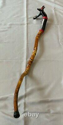 Vtg Native American Walking Stick CANE hand carved animal faces handle NW Coast