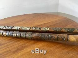 WW11 period walking sticks, hand carved, military royal tank regiment, censored