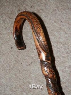 WW2 Military Battle of Hong Kong Walking Stick -Hand-Carved Twisting Snake Shaft