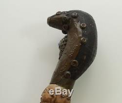 Walking Cane Stick Antique Carved Wood Designer Faces Seven Gods 19th century