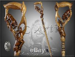 Walking Stick Cane Staff Lion Impala Hand Carved Wood Crafted men's women's