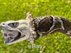 Walking Stick Skin Yarara Snake Real. Carving Skull In Real Deer Bone. #VIVORA