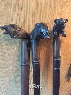 Walking Sticks Canes 3pc Mixed Lot Bear Elephant Lion Hand Carved Mahogany Sono