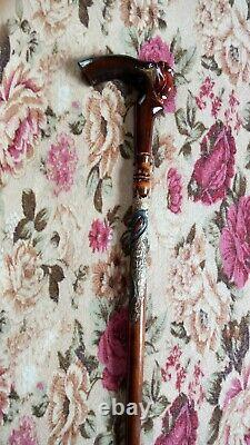 Walking cane for women rose Walking cane stick Hand carved walking stick rose
