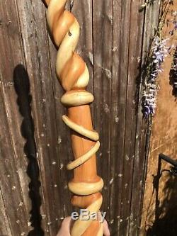 Walking stick Unique Bespoke Hand Made Hand Carved From Yew