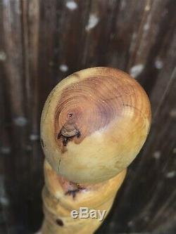 Walking stick, Unique Bespoke Hand Made, Hand Carved From Yew 40