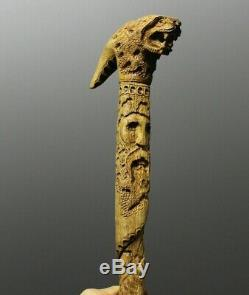 Walking stick Wooden Carved walking Stick handmade gift