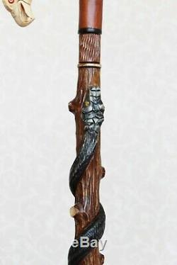 Walking stick cane American eagle & Snake Carved handle and staff Wooden cane