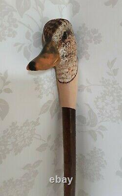 Walking stick / shooting stick / dress stick. Hand carved Female Mallard