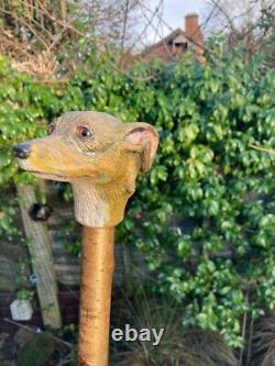 Whippet Head, Hand Carved in Lime on Hazel Shank, Country Walking stick