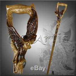 Winged Girl Walking stick Boobs Woman Bird Wooden Hand carved Crafted Staff L