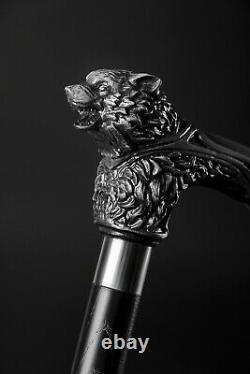 Wolfman Wooden Cane Wolf Head Carved Walking Stick for Men Personalized Gift