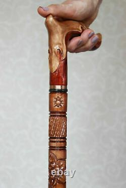 Women's walking cane Hand carved handle and staff Elegant wooden cane with gold