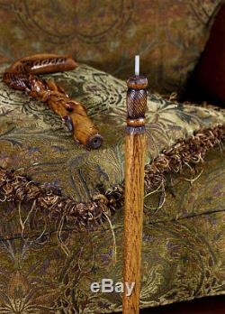 Wood Carved Walking Stick Cane Wooden Rose Flower Handle Light Ladies Women