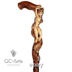 Wood carved Walking Stick Cane Foxy Naked Girl Wooden hand crafted gift for men
