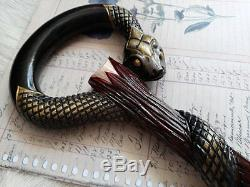 Wood walking cane snake Walking stick snake Wood walking cane Hand carved NW04