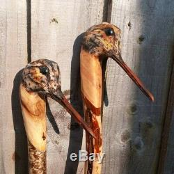Woodcock carved by hand on Hazel shank, walking beating stick