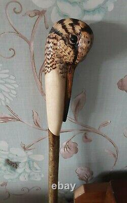 Woodcock hand carved Walking stick / dress stick shooting stick