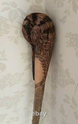 Woodcock hand carved Walking stick / dress stick shooting stick