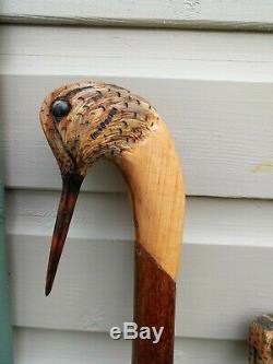 Woodcock head carved by hand on dark hazel shank, walking beating stick