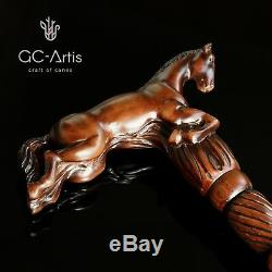 Wooden Walking Stick Cane Horse gift for men women ladies gentleman wood carved