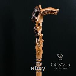Wooden Walking Stick Cane Mother Bear hand carved Unique Light Comfortable