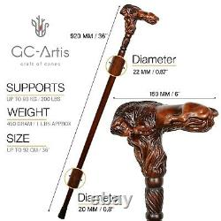 Wooden Walking cane stick Bison Bull Hand Carved Wood Crafted Ergonomic Handle R