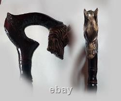 Wooden cane wolf Carved handle and staff Wood walking stick Hand carved