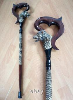 Wooden cane wolf Carved handle and staff Wood walking stick Hand carved canes