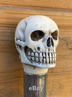Wow Extremely Rare antique Carved Human Skull And Snake walking stick Cane