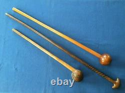 ZULU / CHOKWE collection. Knobkerrie, spiral-carved walking stick, Baton de Chef